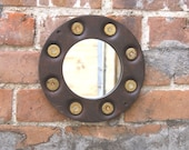 Round Wall Mirror, Texas Decor, Hanging Hall Mirror, Upcycled Bullet Shell Mirror, Rustic Decor, Boyfriend Gift, Metal Mirror, Western Decor
