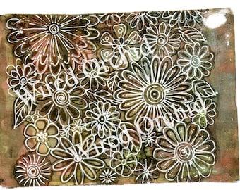 Laser Copy of Original Acrylic Artwork / Black, Brown, Green Floral Design