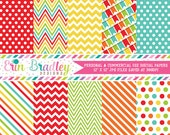 Bounce House Digital Paper Pack in Rainbow Colors Polka Dots Stripes Chevron & Bunting Patterns Personal and Commercial Use