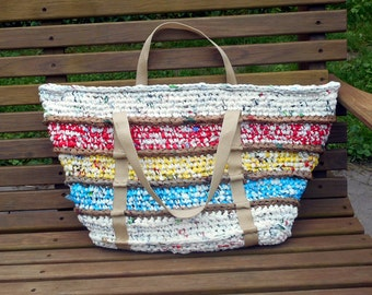 Large Beach Tote from Plastic Bags Plarn