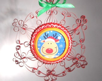 Reindeer Ornament  Recycled Aluminum Can Quilled