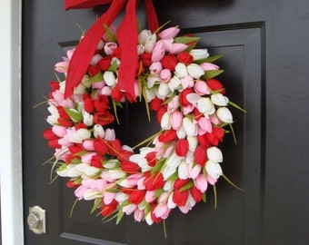 FALL WREATH SALE Valentine's Day Wreath- Valentine's Day Decor- Valentine Decoration- Tulip Wreath