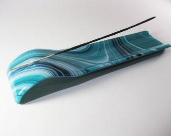 Incense Burner - Sparkly Teal, White and Blue Fused Glass, Incense Holder, Home Decor, Air Freshener, Housewarming Gift, Modern
