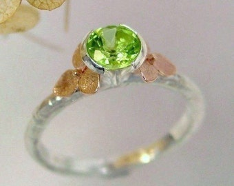 Peridot Ring, 14k Rose Gold Hydrangea Flowers, Green Peridot Gemstone, August Birthstone, Flower Ring, Sterling Silver, Made to order