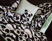 RESERVED Panda print crib blanket and matching Pillow, minky blanket, for Destinee