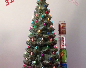 """New 32"""" Tall Vintage Style Ceramic lighted Green Christmas Tree   Large Christmas tree Ready to ship"""