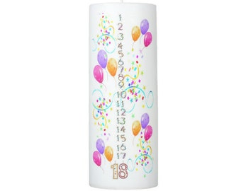 Birthday Countdown Candle 1 - 18 years  8 inches tall - SCENTED
