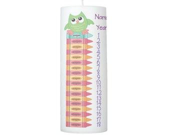 Owl and Crayons Birthday Countdown Candle 1 - 18 years  8 inches tall - SCENTED