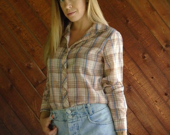 Semi Sheer Plaid Long Sleeve Shirt - Vintage 70s - SMALL