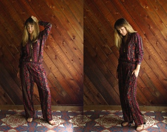 Ethnic Paisley Print LS Matching Shirt and Trouser Pants Coordinates Set - Vintage 80s - MEDIUM M