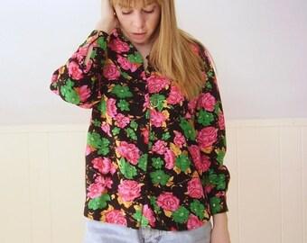 30% off ... Bright Pink Floral POP Button Down LS Blouse Shirt - Vintage 90s - S M