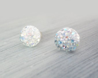Clear Faux Druzy Earrings, 8mm Faux Druzy, Glitter Studs, Stainless Steel / 1e