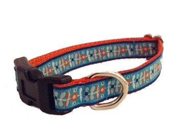 Retro Turquoise and Orange Floral Small Dog Collar, Leash or Harness