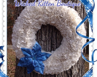 24 inch Christmas Wreath White Wreath Blue Poinsettia Indoor Outdoor Winter Wreath Winter Wedding Christmas Outdoor Decorations Rag Wreath