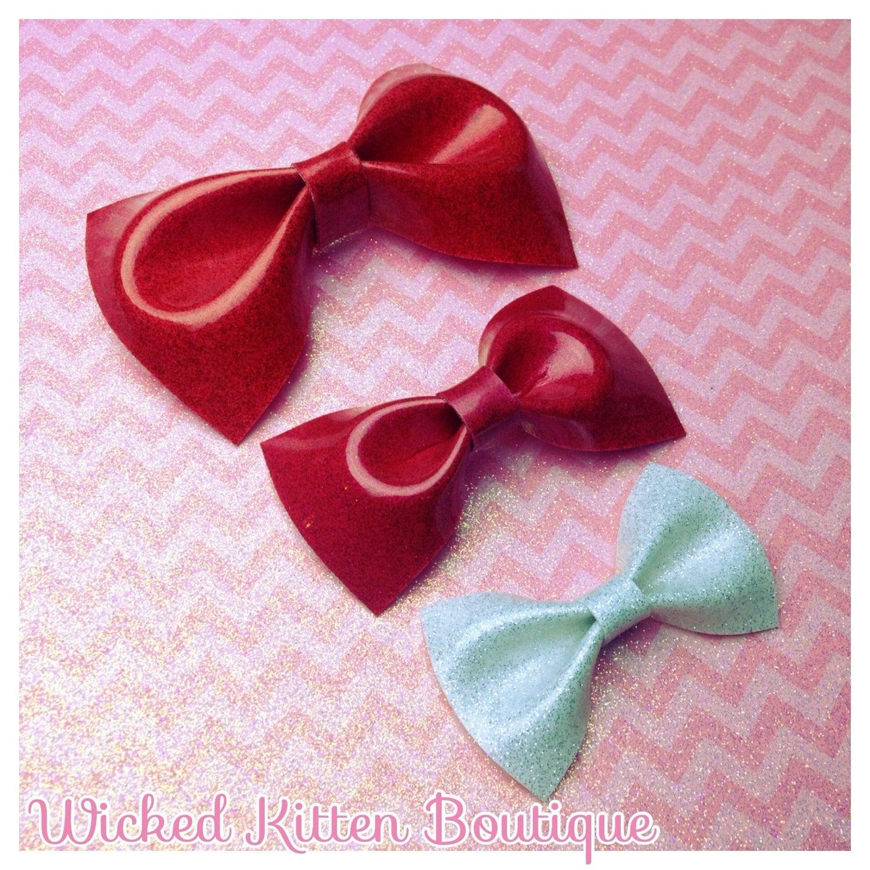 Glitter Hair Bows Rockabilly Bow Pinup Hair Bow Glitter Vinyl