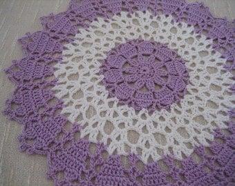 Hand crochet, fabulous  wood violet/white mini doily