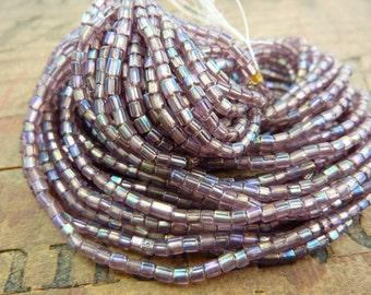 Vintage Seed Bead Tube Bead Amethyst AB Size 2x2mm Seed Beads SB1176