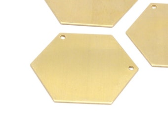 Brass Hexagon Necklace Pendant, 8 Raw Brass Hexagon Blanks With 2 Holea (35x0.80mm) A0839