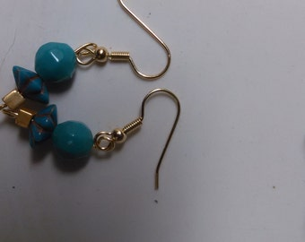 Handmade earrings teal beads