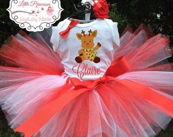 Personalized Reindeer Tutu Outfit - Holiday Tutu Set - Reindeer Shirt