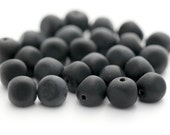 Czech Glass Beads Black Pinched Round Nugget Matte 8mm (25)
