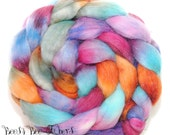 AUTUMN FLORAL - Sparkly Violet Angelina, Tussah Silk and Merino Roving Hand Dyed Wool, Combed Top Roving 4 oz