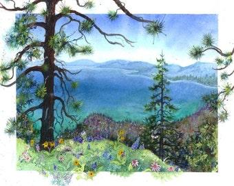 """Watercolor print, """"Lake Tahoe, Pacific Fim"""""""