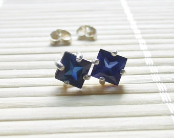 Blue Sapphire Studs Sterling Silver September Birthstone 6mm