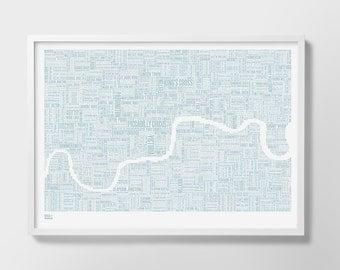 London, London Map, London Type Map, London Wall Art, London Wall Print, London Word Map, Central London, London Screenprint, London Art
