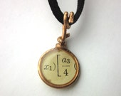 Mini copper resin pendant necklace. Math book page. Book page necklace. Literary jewelry