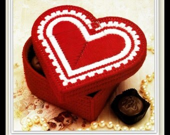 Trinket Box Pattern - Heart - Plastic Canvas - Instant Download PDF 10142223