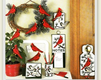 Cardinal & Chickadee Plastic Canvas Patterns - PDF 10261129 - Note Holder, Light Switch Cover, Coaster Box, Door Sign, Pencil Cup