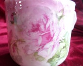 Antique Shaving Mustache Cup Shaving Mug Painted Pink Roses Shabby Chic Look. Embossed Edging. Could Be a Nice Vase Too!