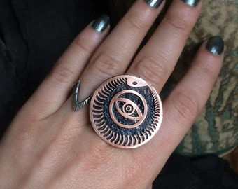 Ouroboros Eye Ring  - handmade out of copper in my Austin Tx Studio - by Jamie Spinello