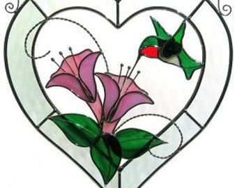 Hummingbird Bevel Heart Stained Glass Leaded Glass Sun Catcher