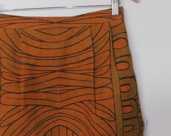 WINTER SALE...mod geometric...vintage fabric straight midi skirt with pockets