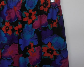 flower pop...vintage fabric midi skirt with pockets