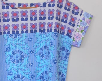 mash up in blues...vintage fabric loose fit boxy style blouse