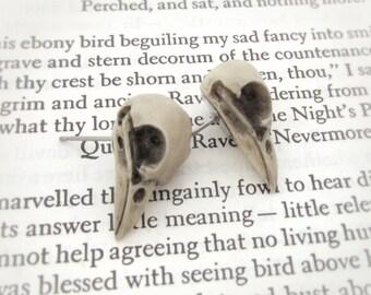 Nevermore Stud Earrings - Raven Skull Earrings, Bird Skull Earrings, Gothic Jewelry, Post Earrings, Macabre Jewelry, Bone Jewelry
