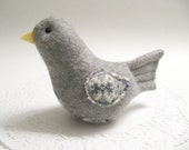 Gift for Teacher / Gray Bird Soft Sculpture Plush Handcrafted from Felted Wool Sweaters No932