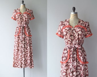 Sweet William dress | vintage 1940s dress | floral print rayon 40s dress