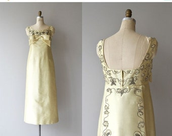 25% OFF.... La Reina gown | vintage 1960s beaded dress | silk beaded 60s gown
