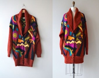 Carbocci wool cardigan | 1980s oversized sweater | avant 80s sweater coat