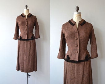 Historic Collection suit | vintage 1950s suit | woven silk and cotton fitted 50s suit