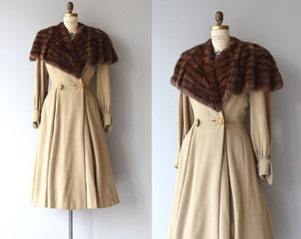 Rubinzahl coat | vintage 1940s sable fur collar coat | 40s princess coat
