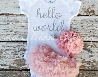Baby Girl Coming Home Outfit Hello World Take Home Outfit Baby Girl Newborn Baby Girl Bodysuit Pink Bloomers Dusty Rose Silver Headband Set