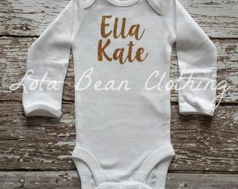 Custom Cake Smash Baby Girl Onesie Monogram Name Bodysuit Gold Silver Birthday Outfit newborn girl take home outfit