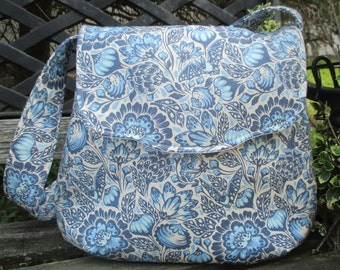 Blue And White Shoulder Bag ,Tula Pink Shoulder Bag , Boho Shoulder Bag, Bats In The Belfry
