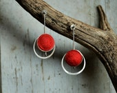 Modern Earrings Sterling Silver hand crafted Felt and silver earrings dangle Earrings for Pierced ears