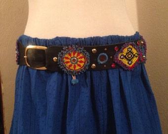 Tribal, Tribal Fusion , ATS, vintage , beaded  Medallions , leather  belt